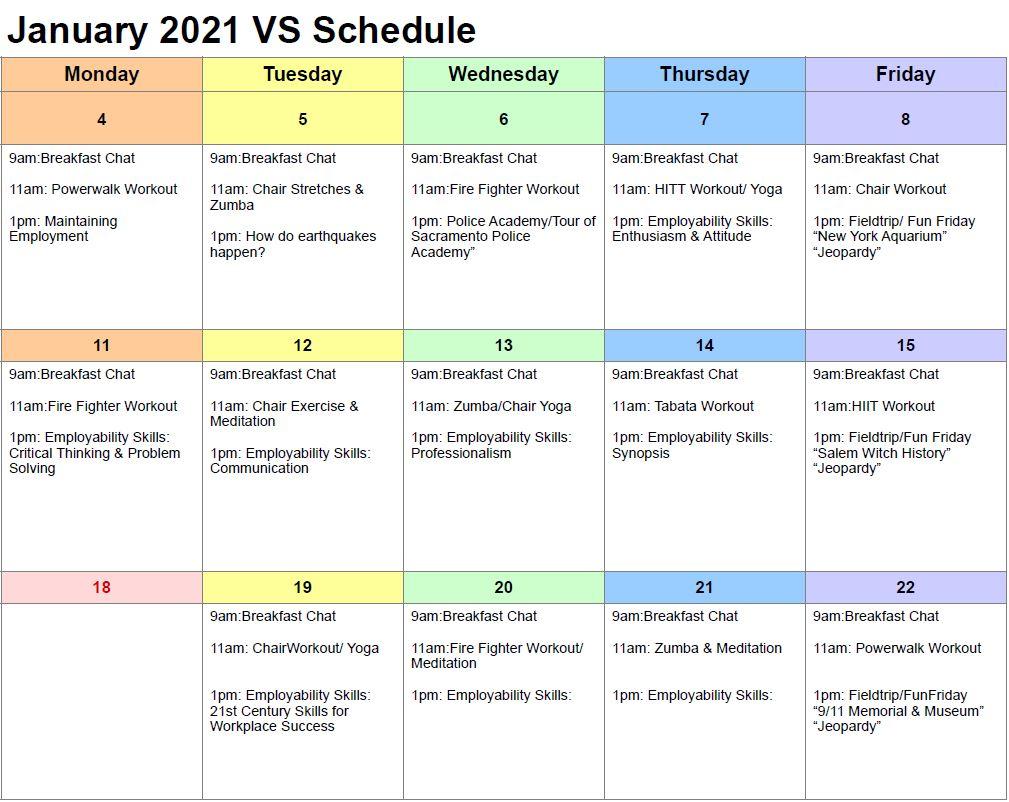 A Calendar for Employment Virtual Services January 2021